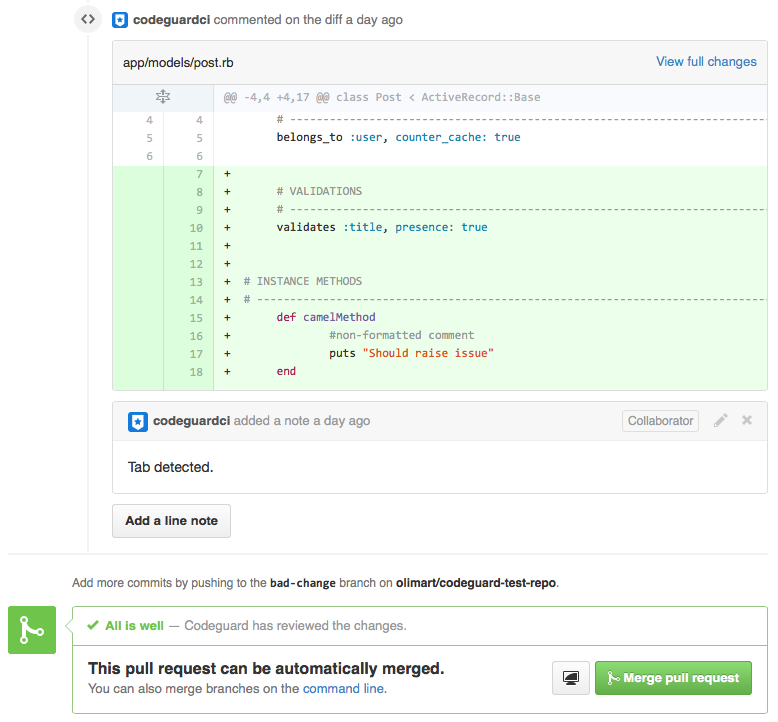 Pull Request CI status on GitHub